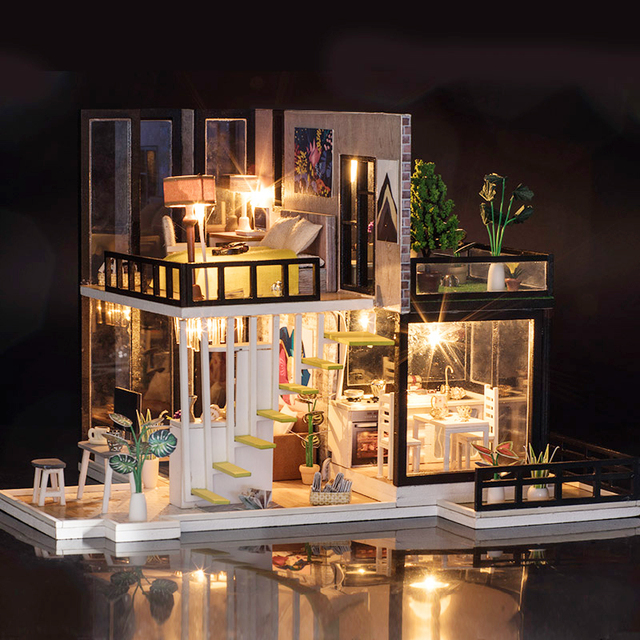 LED DIY Wooden Doll House With Furniture