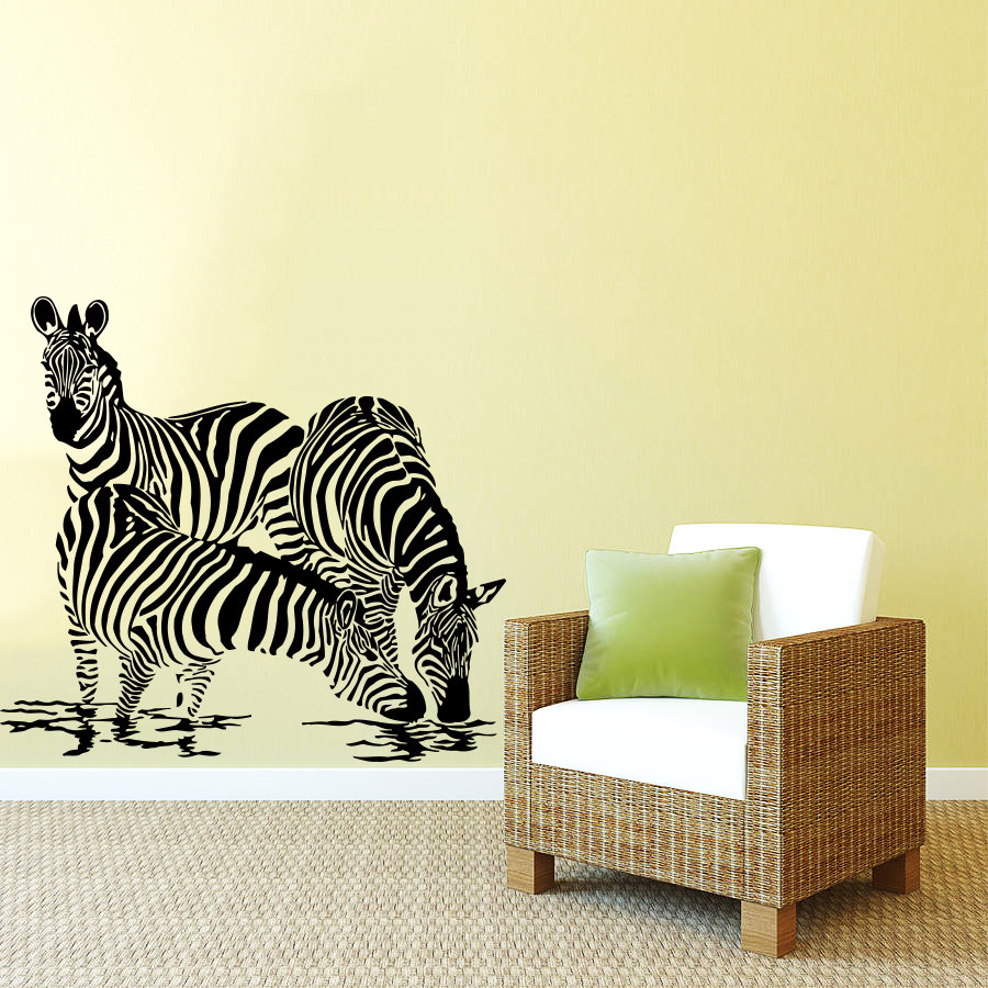 ̀ •́ Jungle Style Animals Three Zebras Silhouette Art Designed Wall ...