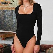 Nadafair Sexy Bodysuit Women Autumn Winter Tops Square Collar Long Sleeve Black White Body Femme Romper Overalls