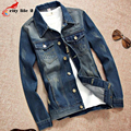 Plus Size M-3XL Men's Denim Jackets Slim Retro Jeans Long Sleeve Turn-Down Collar Male Outerwear 2016 Autumn Spring Fashion Coat
