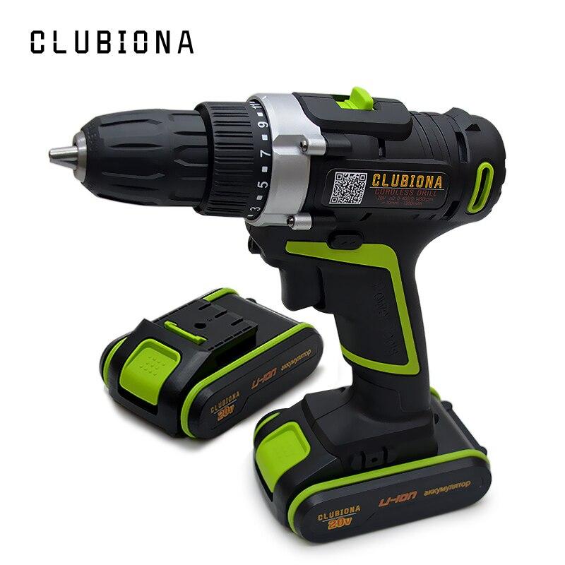 CLUBIONA Leistungsstarke 2 geschwindigkeit zertifiziert 20V Lithium ionen cordless bohrmaschine mit li ion batterie und screwdriving bits-in Elektrische Bohrmaschinen aus Werkzeug bei AliExpress - 11.11_Doppel-11Tag der Singles 1