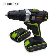 CLUBIONA Powerful 2 speed certificated 20V Lithium-ion cordless electric drill with li-ion battery and screwdriving bits