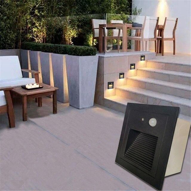 PIR Motion Detector+Light Sensor Led Step Stair Lights Waterproof Outdoor  Footlight Recessed Corner Lamp