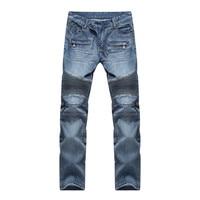 Stylish Men S Elastic Jeans Straight Runway Slim Skinny Fit Biker Denim Pants