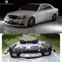 W220 комплект кузова автомобиля FRP Неокрашенный Передний Задний бампер крылья боковые юбки для Mercedes Benz W220 S500 01-05