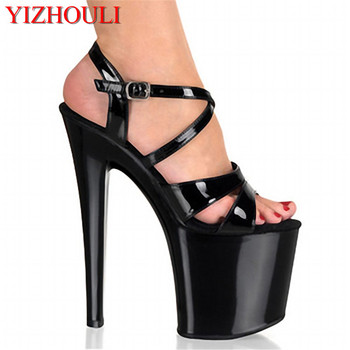 20cm Black high heel shoes with thick bottom dazzling lady tide, sexy fish mouth peep-toe Dance Shoes