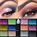 Cosmética 12 Color de Las Mujeres Caliente Sparkle Glitter Maquillaje Crema Sombra de Ojos Cepillo de Paleta Partido HB88
