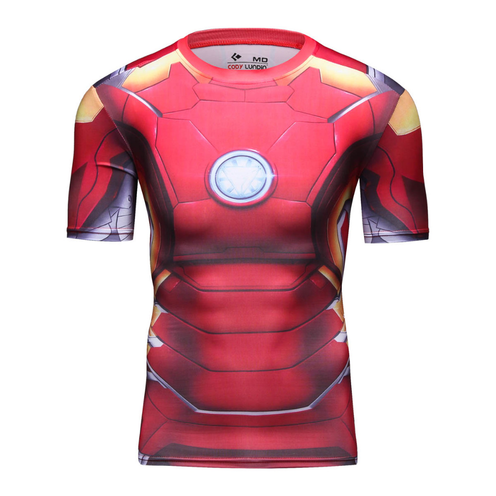 Dua Warna Pria Marvel Avengers Superhero Iron Man T Shirt 3d Digital Kaos Singlet Dicetak Lengan Pendek Kebugaran Gym Pakaian Untuk Laki Di Trainning