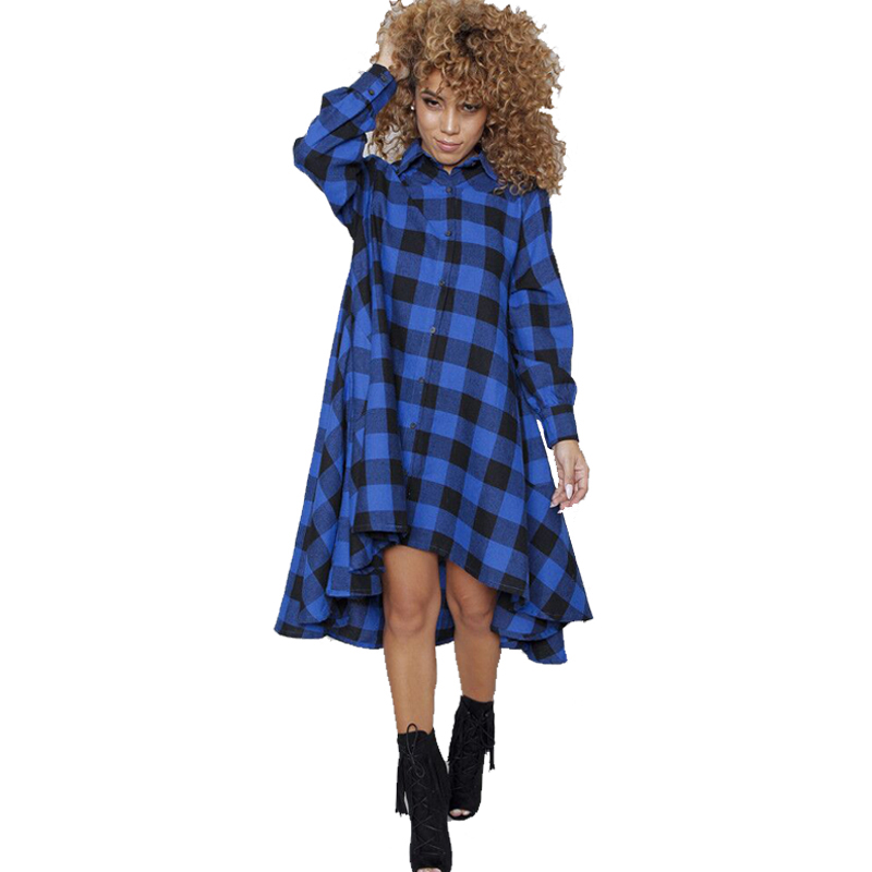 ae2b910d89a4 Olrain Women Casual Long Sleeve Turn down Collar Oversize Loose Plaid  Checkered Printed T shirt Dress-in Dresses from Women's Clothing on  Aliexpress.com ...