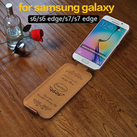Classic Fashion Logo Flip Vertical Leather Case Cover For Samsung Galaxy S6 G920F 6 Colors Available