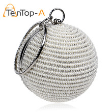 TenTop-A Best Price Women's Pearl Beaded Diamond Tellurion Evening Bag Bridal Wedding Round Ball Wrist Bag Clutch Purse Handbag