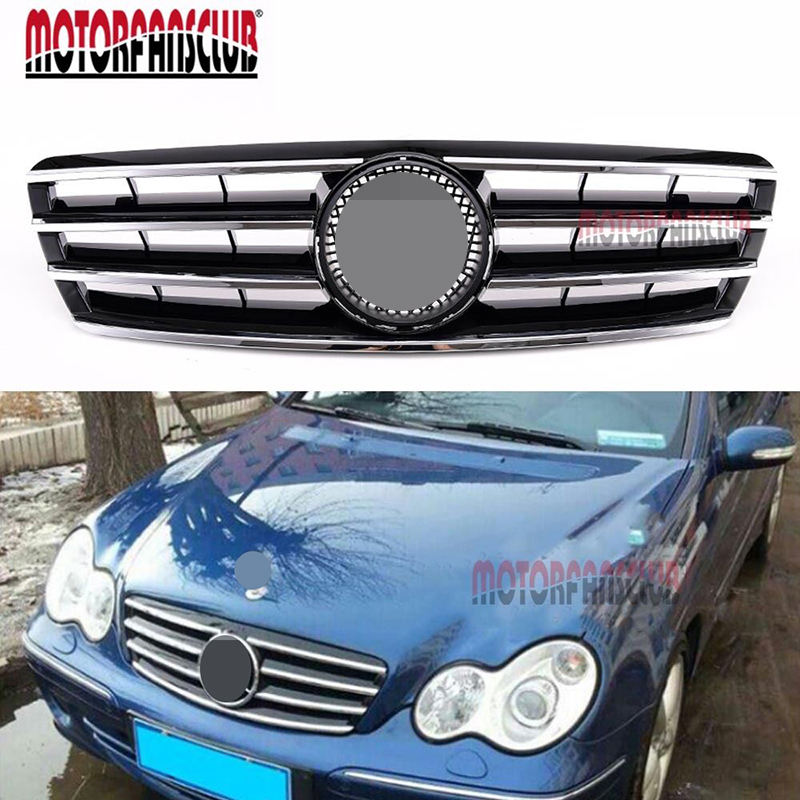 ABS Black Chrome CL Style Front Bumper Grille For <font><b>Mercedes</b></font> <font><b>Benz</b></font> W203 <font><b>2001</b></font>-2007 <font><b>C-Class</b></font> SL C230 C320 C240 Racing Grills