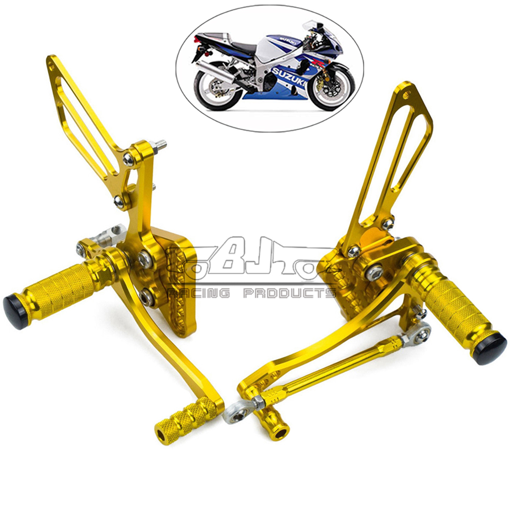 Free shipping Motorcycle Adjustable Rear Sets Rearset Foot Rest Pegs For Suzuki GSXR 1000 GSXR1000 2005 2006 aftermarket free shipping motorcycle parts front rider foot pegs bracket fit for suzuki gsxr1000 2005 2006 2007 2008 polish