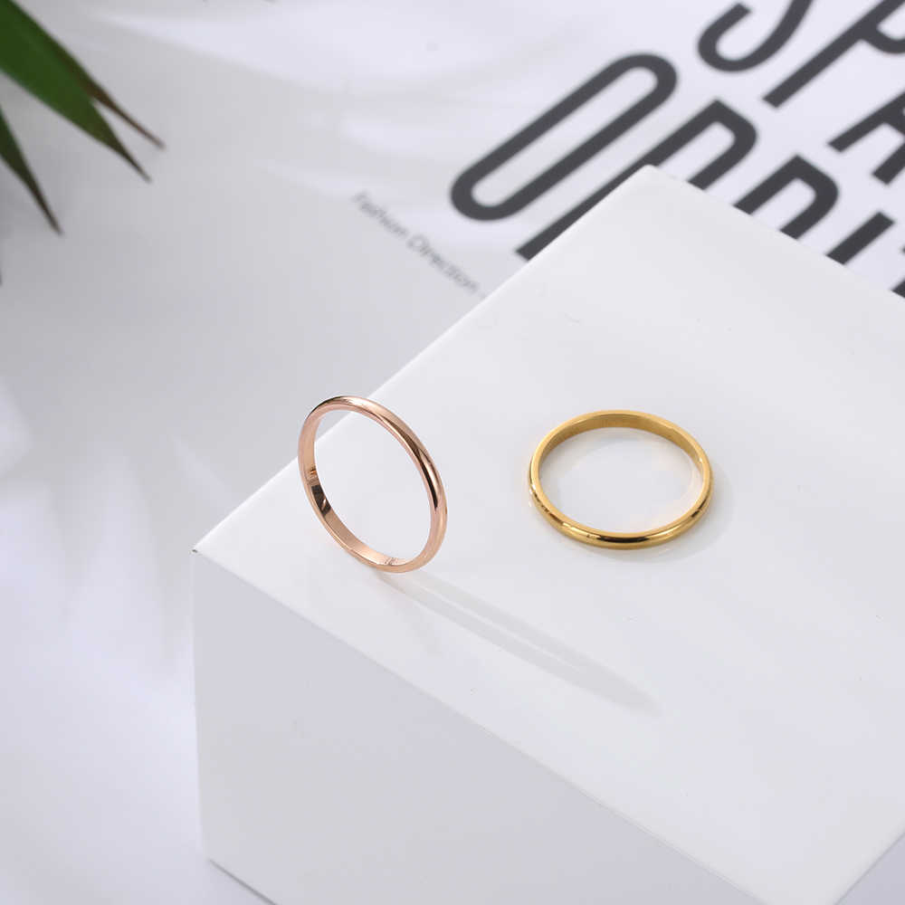 1PC 2mm Ultra-simple Four-color Glossy Stainless Steel Couple Rings fashion Punk Jewelry Accessiores for Women Girl Size 3-10