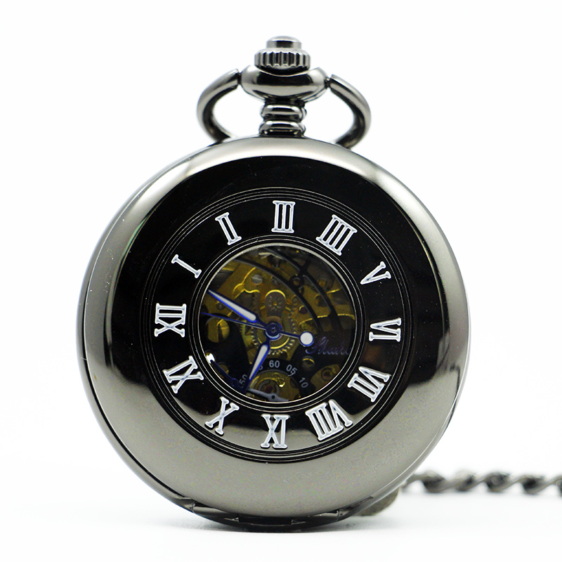 Vintage Smooth Black Hollow Mechanical Pocket Watch Roman Skeleton Dial Pocket&Fob Watches For Men Women PJX1283