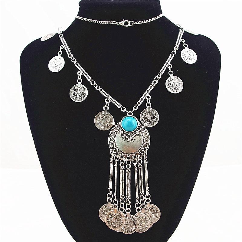 Bohemian Vintage Lange Anhänger Halskette Silber Überzogene Kette - Modeschmuck - Foto 2