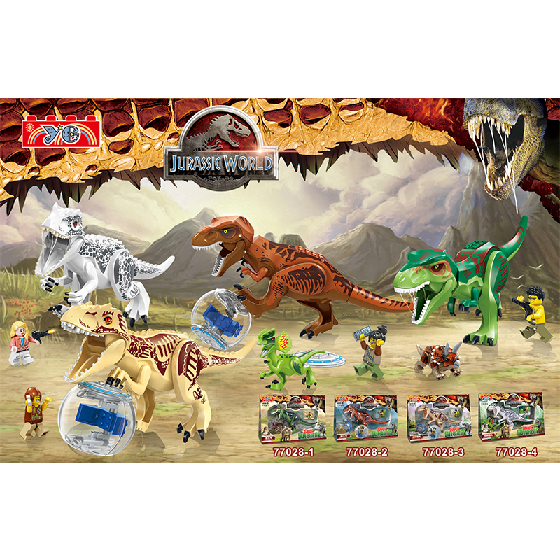 DR.TONG Ye77028 4Pcs Jurassic World Tyrannosaurus Triceratop Dinosaur T-rex Educational Toys Building Blocks Bricks Child Gifts 37 cm tyrannosaurus rex with platform dinosaur mouth can open and close classic toys for boys animal model without retail box