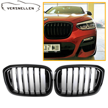 A Pair Front Kidney Grille For BMW New X3 X4 G01 G02 2018-  Glossy black Car Grill Styling Single line