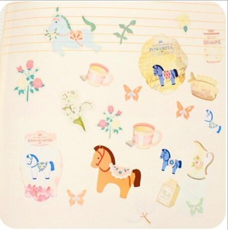 DIY Dekorativní papírové samolepky Roztomilý kůň pro bytové dekorace 3 listy / sada