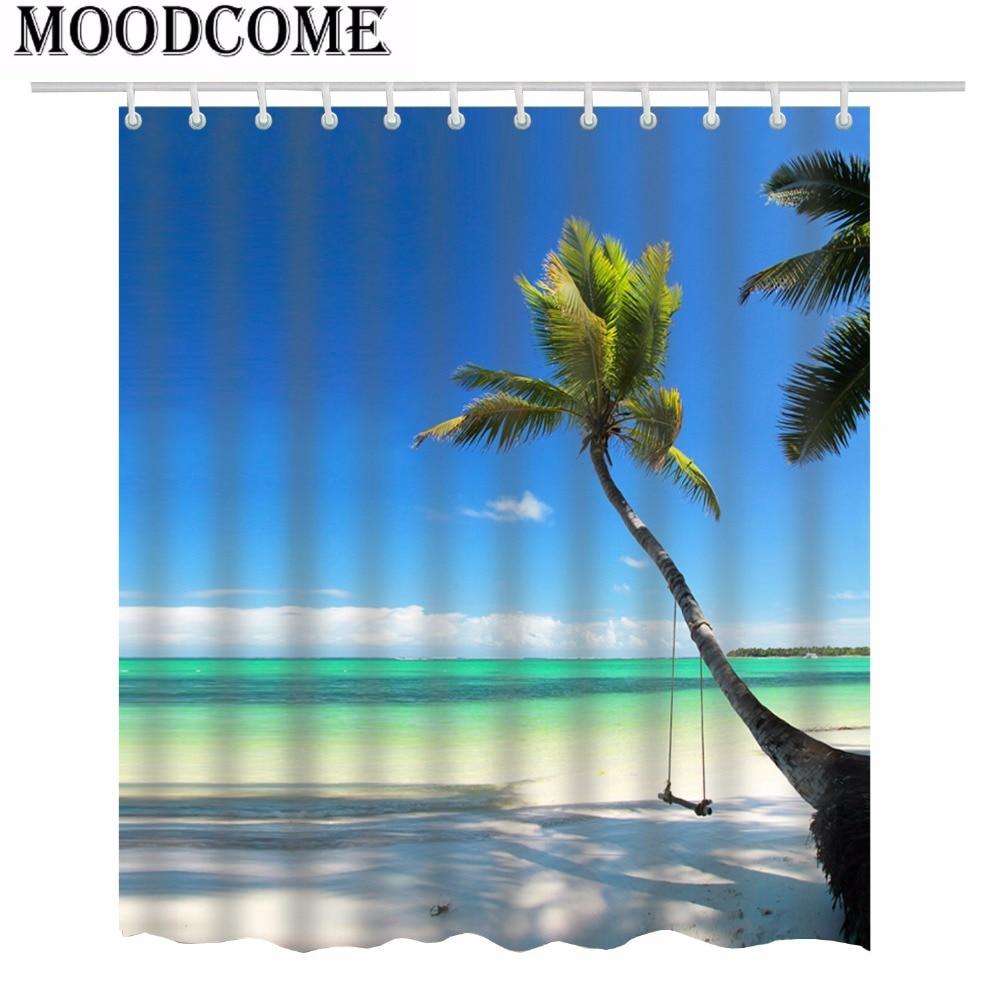Tropical Shower Curtain Coconut Tree Bathroom Curtain Rideau De Douche Tropical Tree Curtain Bath Coconut Tree Curtain 3D