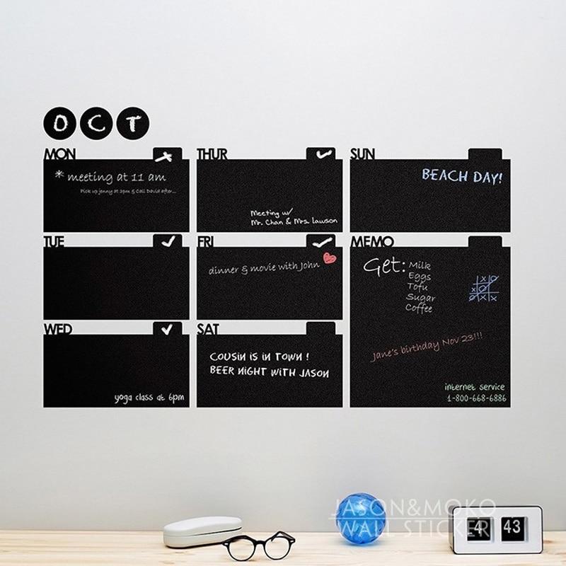 Weekly Memo Month Calendar Goal List Plan DIY Chalkboard Wall Decal Wallpaper Mural Kitchen Office Home Decor 60x90cm