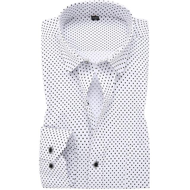 New 2017 Brand 100% Cotton Men Printed Casual Shirts Long Sleeve Formal Polka Dot Slim Fit Soft Business Men Dress Shirt