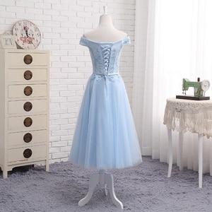 Image 4 - JFN # à lacets robe longue bleue de demoiselle dhonneur, épaules dénudées, mi courte, sur mesure, robe de bal, tenue de toast, nouvelle collection 2018