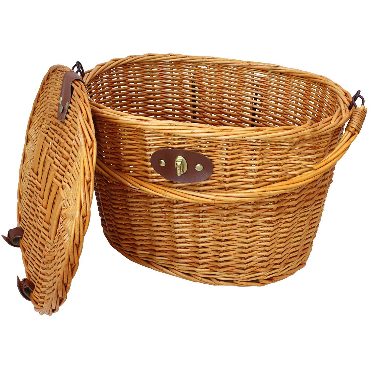 SEWS-Vintage Wicker Bicycle Basket with Folding Lid & Leather Straps