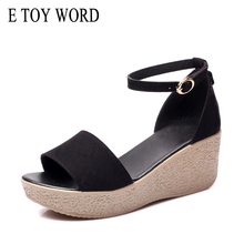 E TOY WORD Summer Women Sandals wedge Platform sandals women Ankle Strap Open Toe High Heels Sandalias Mujer women shoes 43 summer stripe knitted platform women sandals sexy open toe comfortable low heels black beige red blue purple sandalias mujer