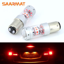 Pair 1157 BAY15D P21/5W  140W Red LED Brake Tail Stop Light Bulb For Ford Focus Fiesta S-MAX Mondeo EcoSport KUGA