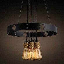 Araña de hierro forjado círculo creativo candelabro retro restaurante accesorio de iluminación led lámpara de araña clásica
