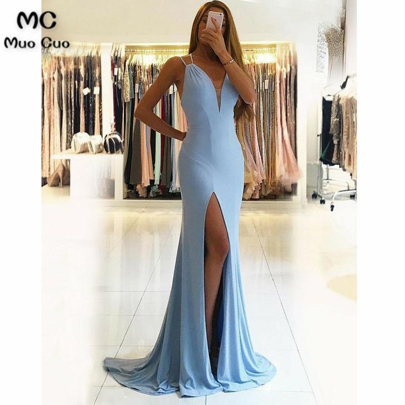 Simple Mermaid Evening Dresses Long Front Slit Prom Dresses Long Spaghetti Straps Deep V-Neck Blue Evening Dress For Women