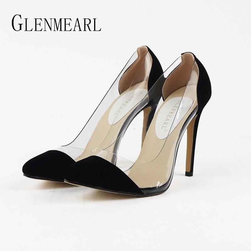 2018 Spring Autumn Sexy Pointed Women Pumps High-heeled Women <font><b>Shoes</b></font> <font><b>Beige</b></font> Black White High Heels Wedding <font><b>Shoes</b></font> Plus Size 42 XP40