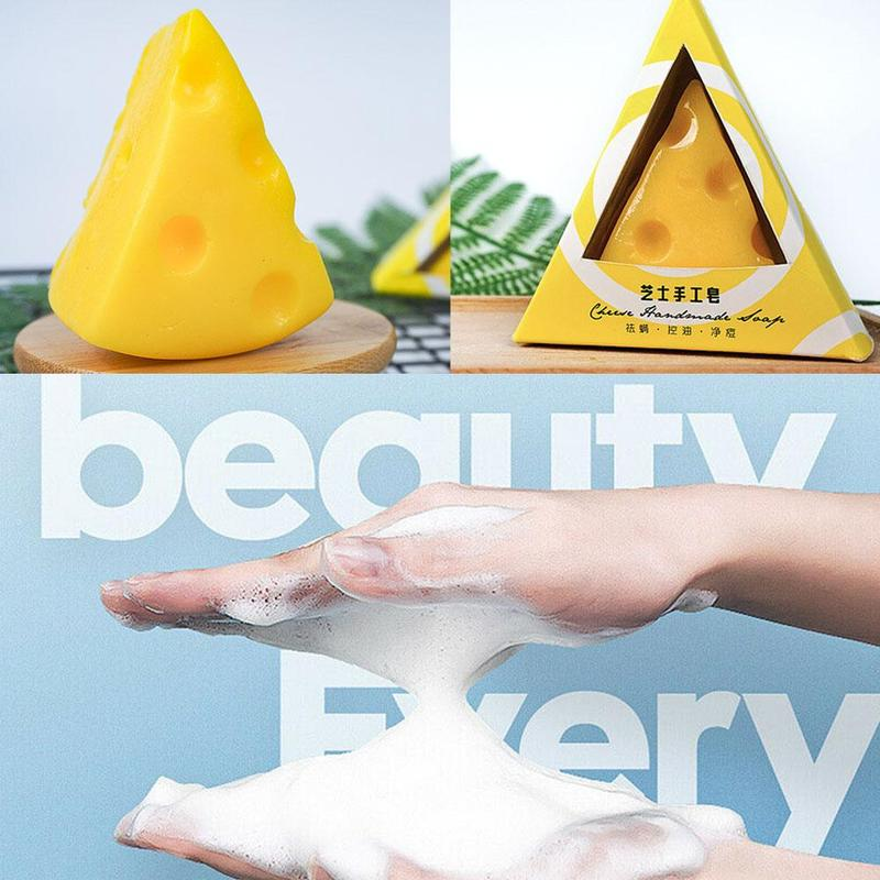 Mini Remove Acne Cheese Facial Soap With Foaming Net Skin Cleansingsoap Cheese Milk Soap Bath Wash Face Soap Refreshing Handsoap