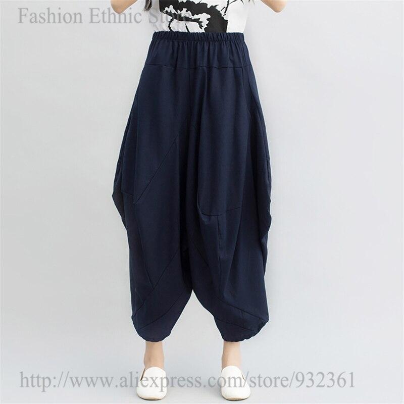 Mujeres asimétrica Harem flojo cuerpo Bloomers algodón Lino pantalones  estiramiento pantalones de cintura alta pantalon femme 2017 en Pantalones y  Capris de ... ec840a4b0c9c