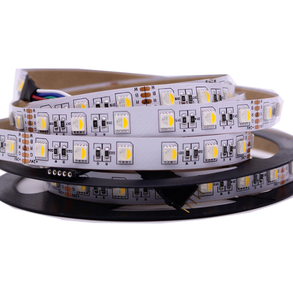 4 in 1 RGBW LED Strip 5050 DC24V Flexible LED Light RGB+White / RGB+Warm White 4 color in 1 LED Chip 60 LED/m 5m/lot. стоимость