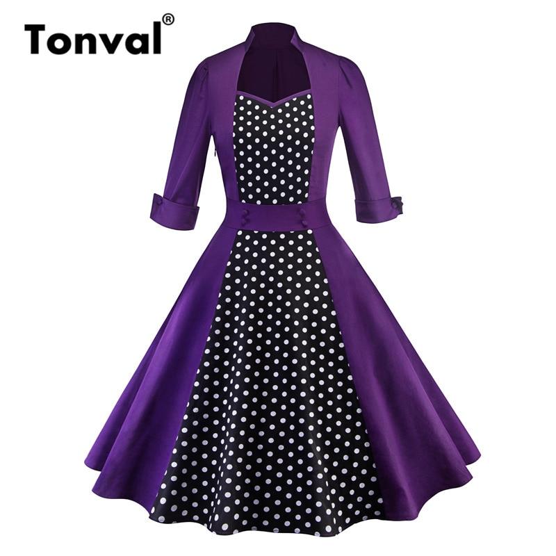 5584bdd5e66fe Tonval Vintage Polka Dot Elegant 50s Purple Dress Women 3/4 Sleeve 2019  Autumn Hepburn Rockabilly Pinup Dresses