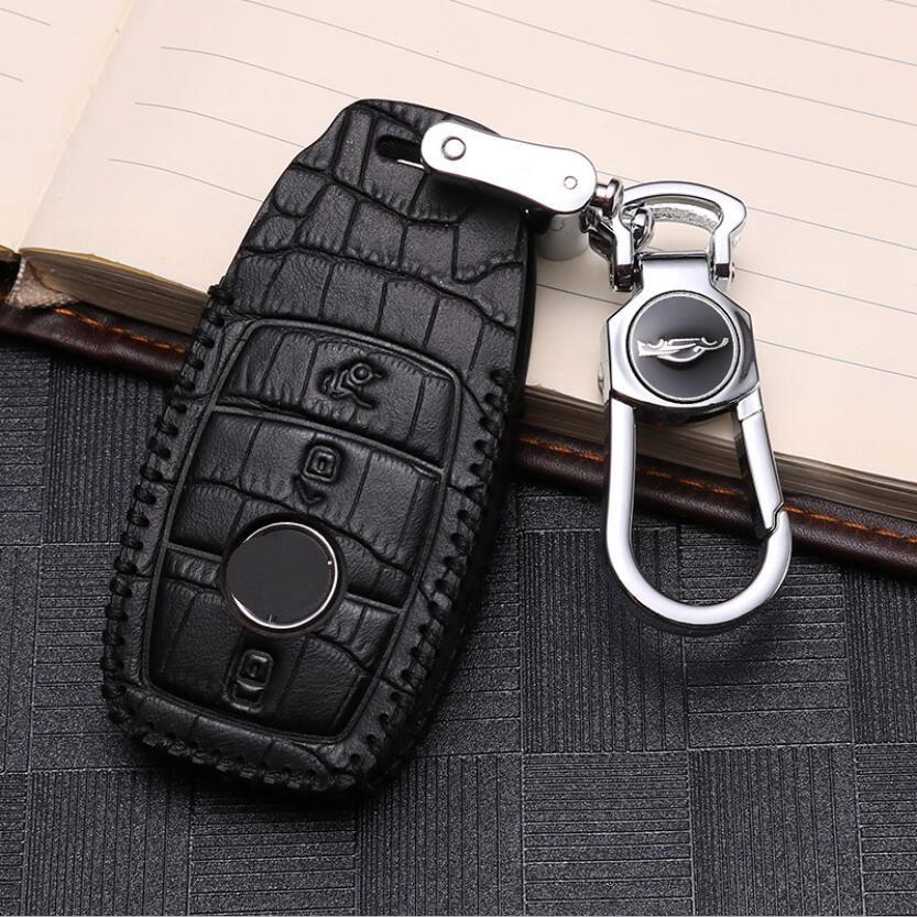 Car Leather Key Cover Case Pocket For Mercedes Benz GLC260 GLA200 W205 C200 C180 C300 E Class W213 E200 E300 A E S C GLS Calss