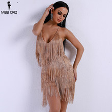 Missord 2019 Sexy cuello en V de hombro cruzado mujeres monos borla Backless Bachata Playsuit TH8338-2(China)