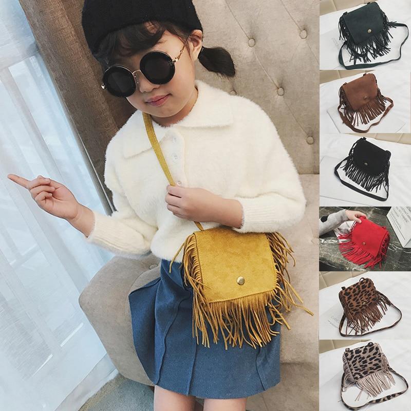 Lovely Baby Girls Mini Messenger Bag Cute Tassel Design Kids Coin Purses Children Handbags Shoulder Bags