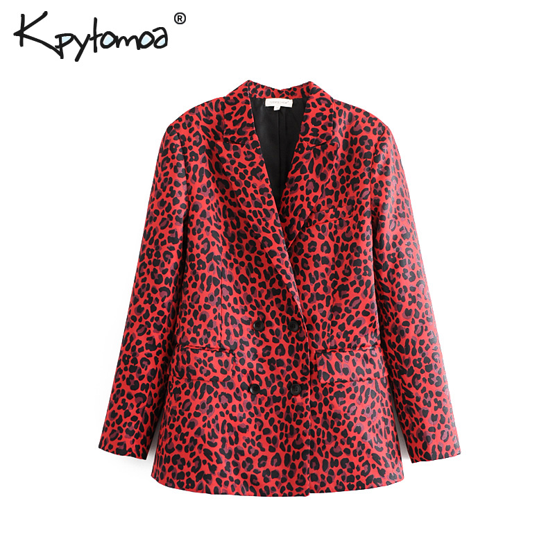 Vintage Double Breasted Leopard Print Blazers Coat Women 2019 Fashion Long Sleeve Ladies Outerwear Casual Workwear Jacket Tops