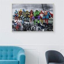 Cuadro de pared abstracto de Anime Marvel deadpool y Hulk, afiche de superhéroe de Batman, cuadro de pared para decoración para sala de estar, póster Vintage