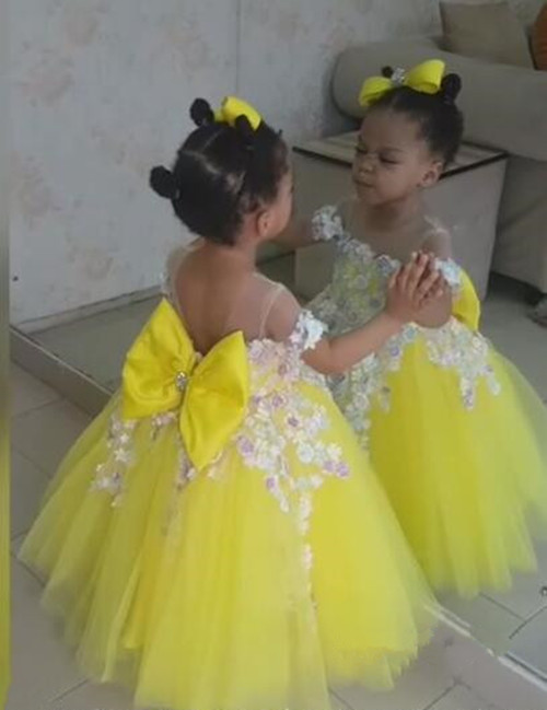 Cute white yellow puffy flower girl dresses with bow lovely kids wedding birthday party ball gowns any sizeCute white yellow puffy flower girl dresses with bow lovely kids wedding birthday party ball gowns any size