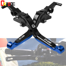 With ZX10R LOGO CNC Adjustable Extendable Brake Clutch Levers For KAWASAKI 2004 2005 Motorcross Accessories