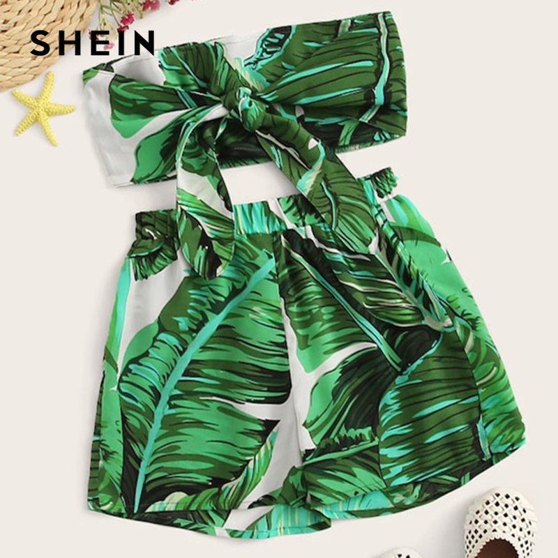 SHEIN Kiddie Girls Tropical Print Tie Front Crop Top And Shorts Suit Set 2019 Summer Boho Beach Sleeveless Kids Two Piece Sets