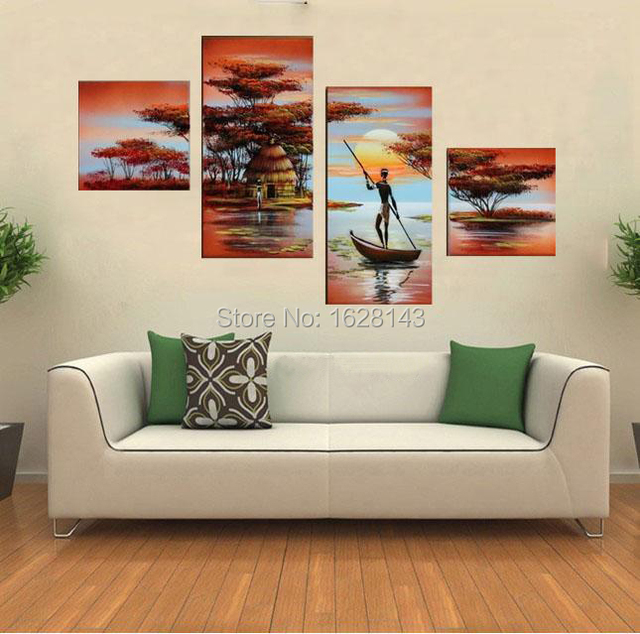 4 Panel African River Landscape Hand Painted Canvas Oil Painting For Living  Room Wall High Quality Part 71