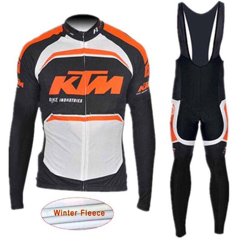 цена на Cycling Jersey KTM 2018 winter thermal fleece trousers BiB set MTB bicycle maillot ropa ciclismo hombre mountain bike