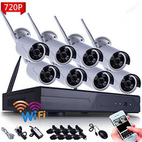 8CH HD WI FI NVR Security Wireless Network 720P 1MP Night Vision IP Surveillance Camera Security