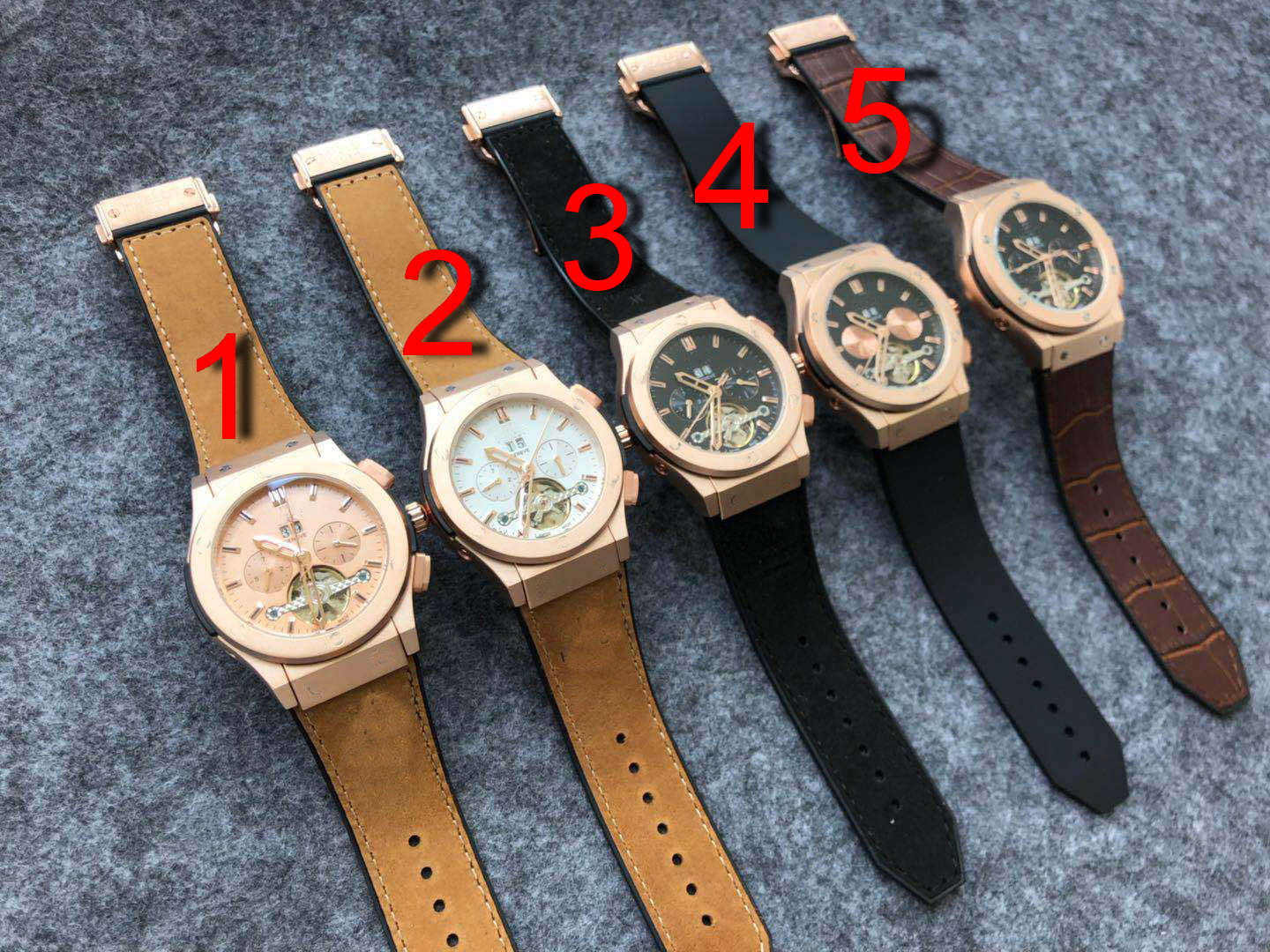 Luxury Brand New Men Brown Black Leather Rose Gold Automatic Mechanical Sapphire Tourbillion Watches Glass Back See Through AAA+