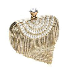Neueste quaste kristall frauen tasche luxus imitationsperle abendtaschen hochzeit perlen tageskupplungen kleinen